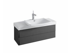 Escale EB760-274 черный лакМебель для ванной<br>Jacob Delafon Escale EB760-274 тумба под раковину Е1280 в черном цвете. Тумба изготавливается с двумя органайзерами из пено-материала, одним плавно закрывающимся ящиком вверху, одним плавно закрывающимся ящиком внизу.<br>