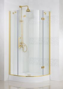 Magic R1 90x90 R бронзаДушевые ограждения<br>Радиальный, радиус 550 мм. Одна распашная дверь. 8 мм прозрачное стекло. Поддон приобретается отдельно.<br>