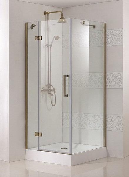 Magic A1 100x100 L золотоДушевые ограждения<br>Квадратный. Одна распашная дверь. 8 мм прозрачное стекло. Поддон приобретаются отдельно.<br>