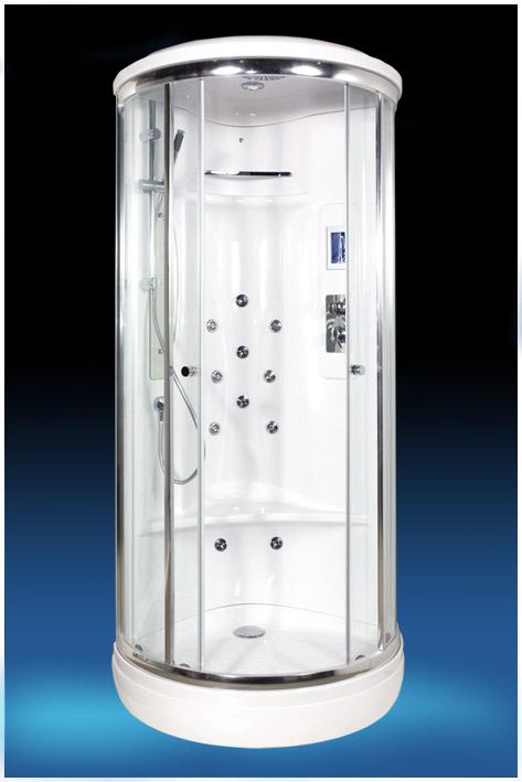 EF-2000 (EF-1010L) С гидромассажемДушевые кабины<br>Душевая кабина  Edelform EF-2000. Комплектация: самоочищающиеся форсунки (система quickclean), ударопрочное каленое стекло 6 мм, верхний душ, ручной душ, сенсорный пульт управления, зеркало, полочка для шампуня, FM радио, верхнее освещение, вентиляция, двойные ролики, антискользящая поверхность поддона, озонатор воздуха, форсунки для массажа икроножных мышц.<br>