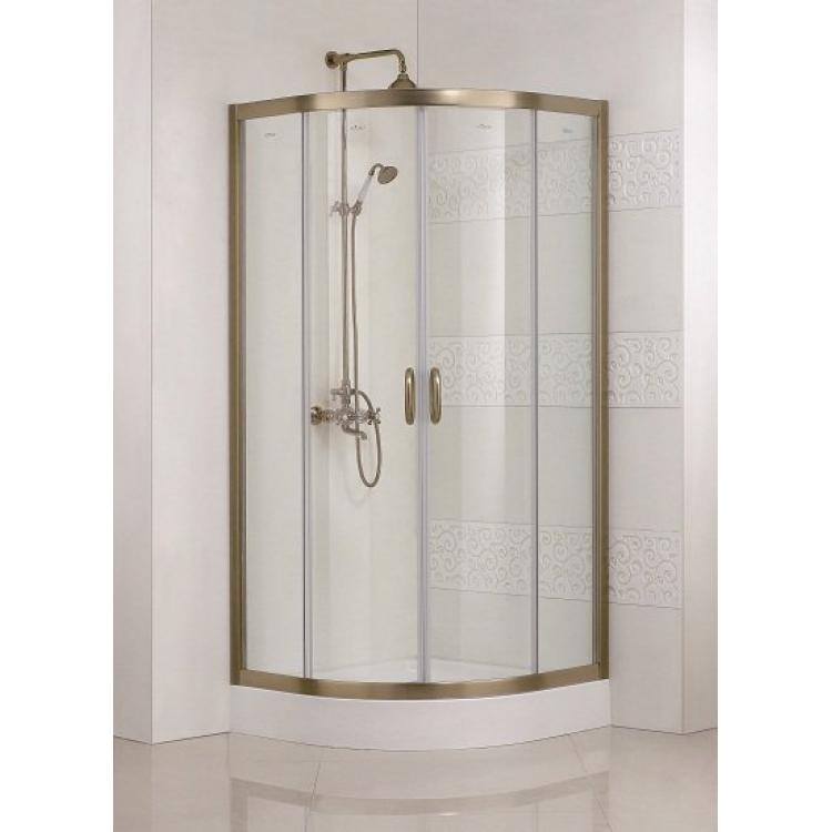 Modena R2 100x100 Золото прозрачное стеклоДушевые ограждения<br>Радиальный, радиус 550 мм. Две раздвижные двери.<br>