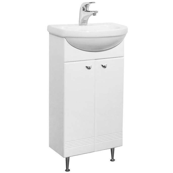 Астурия 45 БелаяМебель для ванной<br>Тумба под раковину Аквалайф Астурия 45 1-264-000-LI45.<br>Лаконичная и функциональная модель тумбы для небольшой ванной комнаты.<br>Корпус изготовлен из влагостойкой ДСП с добавлением парафина.<br>Материал фасада: ламинированный МДФ повышенной плотности.<br>Покрытие: качественная ПВХ пленка.<br>Ламинированная кромка корпусных деталей обеспечивает дополнительную защиту и износостойкость. <br>Две распашные дверцы, вкладная полка.<br>Монтаж: на ножках.<br>Размер: 44x21x81 см.<br>В комплекте поставки: тумба.<br>
