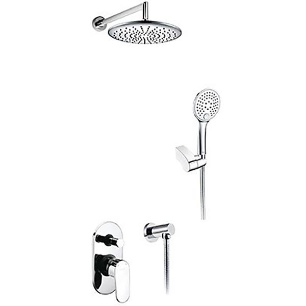 A14030 ХромДушевые системы<br>Душевая система Wasser Kraft A14030.<br>В комплекте: <br>Смеситель для ванны и душа Donau 5361,<br>Верхний душ (насадка A030, излив A019),<br>Ручной душ A060,<br>Шланг 1500 мм A010,<br>Шланговое подключение A021,<br>Держатель лейки A014.<br><br>Верхний душ:<br>Размер душевого диска: 250 мм,<br>Регулируемый угол наклона 0-22°,<br>135 силиконовых форсунок,<br>Сетчатый аэратор для равномерного распределения воды,<br>Защита от известковых отложений,<br>Материал душевого диска: ABS-пластик.<br><br>Ручной душ:<br>Размер душевого диска: 120 мм,<br>3 типа струи,<br>Защита от известкового налета,<br>Душевой шланг длиной 1,5 м.<br><br>Смеситель: <br>Встраиваемый смеситель,<br>Керамический картридж 40 мм, Sedal (Испания),<br>Переключатель верхний-ручной душ.<br>