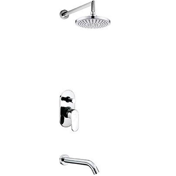 A13029 ХромДушевые системы<br>Душевая система Wasser Kraft A13029.<br>Имеет долгий срок эксплуатации за счет качественных деталей, неприхотлив в уходе. Дополнит любую ванную комнату своей функциональностью и стильной формой конструкции.<br><br>Характеристики:<br>Все детали душевой системы с хромоникелевым покрытием, что надежно защищает от коррозии.<br>Душевая насадка диаметром 20 см изготовлена из ABS-пластика со 115 форсунками из силикона с системой защиты от известковых отложений. Насадка крепится к штанге при помощи шарнирного соединителя с сетчатым аэратором для равномерного распределения воды с углом наклона душевой насадки от 0 до 22 градусов.<br>Смеситель для ванны с кнопочным переключателем на душ и керамическим картриджем 40 мм, Sedal (Испания), выполнен из латуни.<br>Настенный латунный излив для ванны длиной 20,3 см.<br><br>В комплекте поставки: верхний душ, кронштейн для верхнего душа, излив, смеситель (внешняя и внутренняя части).<br>