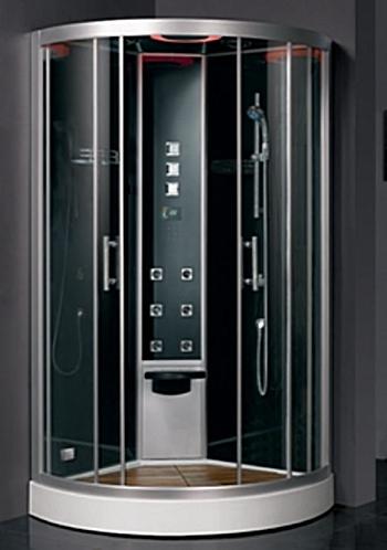 DZ951 F8 цвет черныйДушевые кабины<br>Душевая кабина Eago DZ951 F8 цвет черный. Комплектация: задние черные тонированные стенки (закаленное стекло), акриловый поддон (с деревянным полом), черный акриловый потолок, фронтальный профиль матовый хром, сенсорный пульт управления с цветным дисплеем, гидромассаж, верхний душ, душевая лейка, функция турецкой (паровой) бани, регулировка температуры турецкой бани, таймер, функция очистки парогенератора от накипи, ароматерапия, вытяжной вентилятор, радио, смеситель с керамическим картриджем, верхний свет, сиденье, пульт управления под маркировкой F8.<br>