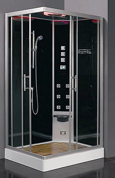 DZ954 F8 L цвет черныйДушевые кабины<br>Душевая кабина Eago DZ954 F8 цвет черный. Комплектация: 6 форсунок, блок управления F8, турецкая баня (мощность парогенератора – 3 кВт), смеситель с термостатом, верхний тропический душ, радио, верхний свет (галоген) 5 цветов, душевая стойка с лейкой, электронная (сенсорная) панель управления, вентилятор, очистка парогенератора, датчик температуры, колба для сбора мусора и волос в поддоне, полочка для шампуней, откидное сиденье, деревянный настил и потолок, дверцы – раздвижные.<br>