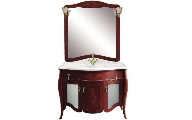 Версаль 110 Витраж Вишневое деревоМебель для ванной<br>Тумба под раковину Demax 173318 Версаль 110 Витраж. В комплект поставки входит тумба в цвете вишневое дерево.<br>