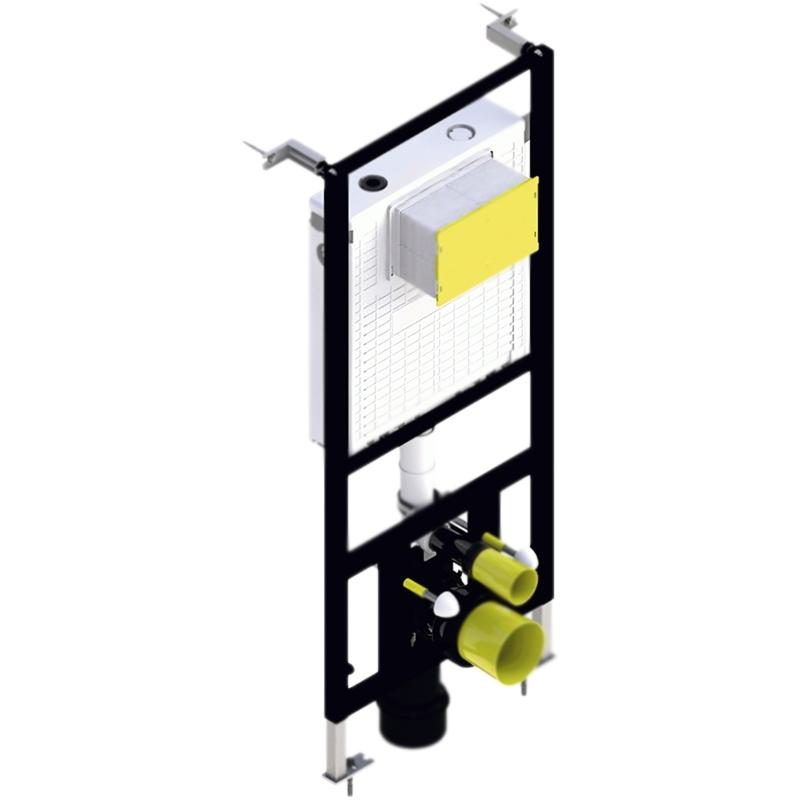 BB-T421 для унитаза со смывным бачком без клавиши смываИнсталляции<br>Стандартная инсталляция BelBagno BB-T421 с бачком скрытого монтажа для подвесного унитаза.<br>Функциональность: <br>Режим смыва: двойной, регулируемый, 2,5-4,5/4,5-9 литров.<br>Бесшумная система подачи воды в бачок.<br>Скорость наполнения: 6 литров за 39 секунд, при давлении 3 бара.<br>Рабочее давление: 0,2-16 бар.<br>Максимальная нагрузка: 400 кг.<br>Конструкция и монтаж: <br>Для фронтальной установки перед капитальной стеной.<br>Защитное покрытие: эпоксидная порошковая краска.<br>Цинковые опорные ножки.<br>Регулируемая монтажная высота: 102,5-131,5 см.<br>Ширина/монтажная глубина: 47/минимум 11,6 см.<br>Расстояние между болтами для монтажа унитаза: 18 или 23 см.<br>Бачок скрытого монтажа с фронтальным механическим управлением.<br>Изоляция: пенопласт.<br>Подключение воды: 1/2 дюйма сверху/сбоку.<br>Система креплений: L-образная неподвижная.<br>Система быстрой установки.<br>Поставляется в уже смонтированном виде.<br>В комплекте поставки:<br>монтажная рама; <br>cмывной бачок;<br>защитная прокладка;<br>опорные ножки;<br>фановый отвод;<br>адаптер 90/110;<br>крепежные элементы;<br>латунный запорный вентиль.<br>