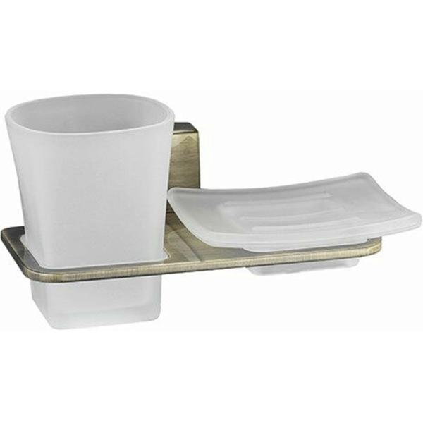 Стакан для зубных щеток с мыльницей WasserKRAFT Exter K-5226 Светлая бронза фото