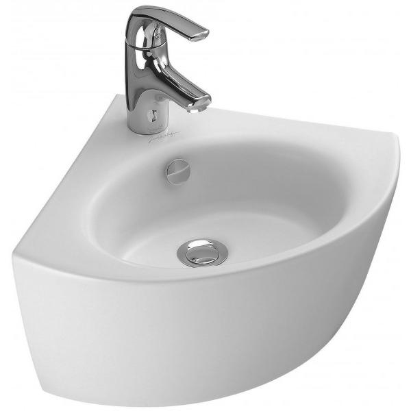 Ove 37 E1566-00 угловая БелаяРаковины<br>Угловая раковина Jacob Delafon Ove 37 E1566-00.<br>Изящная белоснежная раковина идеально дополнит интерьер ванной комнаты в современном стиле.<br>Изготовлена из санфарфора - гладкого и прочного материала. Качественная глазурь не впитывает грязь, устойчива к бытовым повреждениям, долго сохраняет первоначальную белизну и блеск.<br>Отсутствие углов с внутренней стороны чаши облегчают уход за раковиной.<br>Готовое отверстие под смеситель.<br>Переливное отверстие с хромированной заглушкой.<br>Монтаж: подвесная.<br>Цвет: белый.<br>В комплекте поставки: раковина, заглушка для перелива E4061.<br>