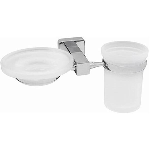 Стакан для зубных щеток с мыльницей WasserKRAFT Lippe K-6526 Хром стакан для зубных щеток wasserkraft k 5028white