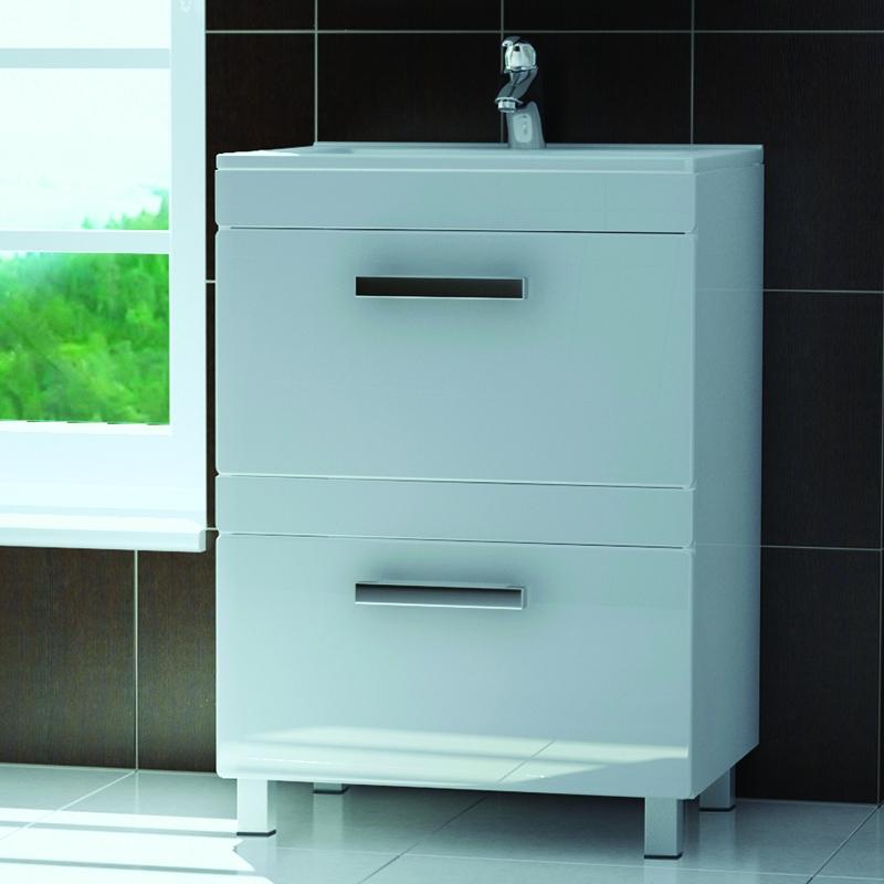 Kolombo 60 K-2-600(Melana) БелыйМебель для ванной<br>Тумба Vigo Kolombo 60 на ножках с двумя выдвижными фасадами. Скрытые направляющие полного выдвижения, механизм мягкого и бесшумного самозакрывания дверей. Металлические хромированные ручки.<br>