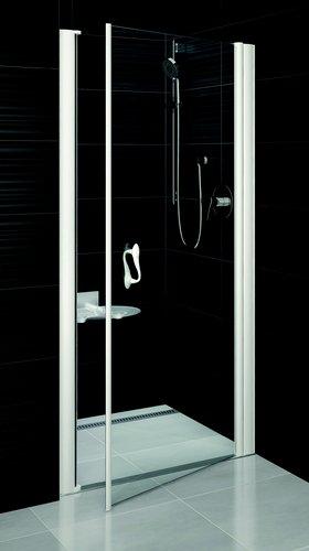 Elegance ESD1-80 хpом+Тpанспаpент LДушевые ограждения<br>Душевая дверь в нишу Ravak Elegance ESD1 80 L распашная. Витраж из безопасного стекла.<br>