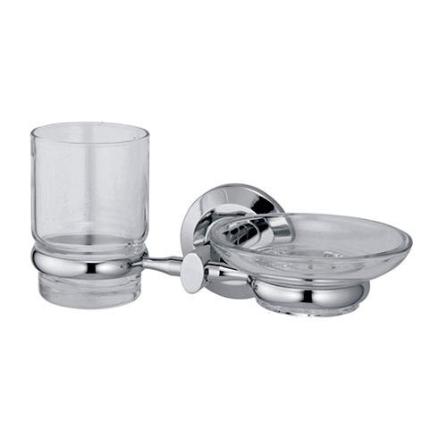 Rhein K-6226 ХромАксессуары для ванной<br>Wasser Kraft Rhein К-6226 держатель стакана и мыльницы. Цвет: Хром. Для изготовления держателя используется металл. Хромоникелевое покрытие, устойчивое к потускнению, легко очищается и придает аксессуарам зеркальный блеск. Уплотнительные пластиковые кольца из металла и стекла предназначены для надежного соединения. Прозрачное стекло.<br>