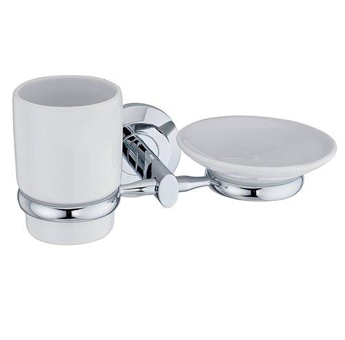 Rhein K-6226C ХромАксессуары для ванной<br>Wasser Kraft Rhein К-6226С держатель стакана и мыльницы. Цвет: Хром. Для изготовления держателя используется металл. Хромоникелевое покрытие, устойчивое к потускнению, легко очищается и придает аксессуарам зеркальный блеск. Уплотнительные пластиковые кольца из металла и стекла предназначены для надежного соединения. Белоснежная керамика.<br>
