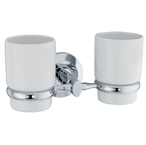 Rhein K-6228DC ХромАксессуары для ванной<br>Wasser Kraft Rhein К-6228DС подстаканник двойной керамический. Цвет: Хром. Для изготовления подстаканника используется металл; Хромоникелевое покрытие (устойчиво к потускнению, легко очищается и придает аксессуарам зеркальный блеск); Уплотнительные пластиковые кольца (необходимы для плотного и бесшумного соединения, металла и стекла); Белоснежная керамика.<br>