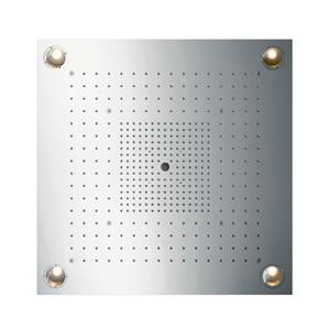 Starck 10627800 ХромВерхние души<br>10627800 AX Starck ShowerHeaven 720 * 720 (подсветка) верхний душ<br>верхняя душевая система квадратной<br>формы для установки внутри потолка или<br>на потолке<br>· с подсветкой: 4 х 20W галогеновые<br>зеркальные лампы низкого напряжения,<br>включая блок питания 80 VA<br>· 3 зоны струй управляются тремя<br>вентилями или переключателем Quattro,<br>рекомендуется установить термостат<br>Highflow с большим потреблением воды<br>· зоны струй: зона Body - внешняя верхняя<br>душевая зона, зона Rain - внутренняя<br>верхняя душевая зона с функцией Air,<br>ламинарная струя - диаметр 17 мм<br>· могут быть активированы отдельно или в<br>комбинации<br>· все зоны (кроме ламинарных струй)<br>имеют защиту от загрязнений QuickClean.<br>
