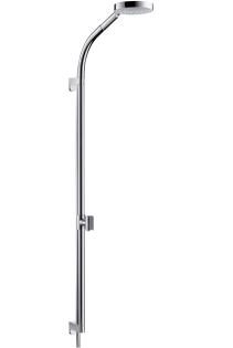 Rainbow S 150 AIR 3jet 27876000 ХромДушевые гарнитуры<br>В набор входят: ручной душ Raindance S 150 AIR 3jet d=150 мм (28519000), шланг Isiflex 1,60 м, (28276000), штанга 0,90 м с самофиксирующимся и регулируемым по высоте держателем, подвижный держатель душа с большим выносом для функционирования в качестве верхнего душа, прокладка для крепления штанги на плитку (28699000).<br>