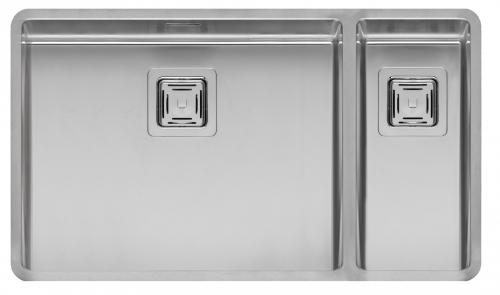 Texas 50x40+18x40 стальнаяКухонные мойки<br>Reginox Texas 50x40+18x40 цельнотянутая мойка из нержавеющей стали с двумя раковинами, с радиусом углов чаши 10 мм.<br>Поверхность мойки: полировка, тип установки: интегрированная, перелив расположен в чаше.<br>Диаметр сливного отверстия: 3,5 (OKG), длина чаши: 503 мм., ширина чаши: 403 мм., длина второй чаши: 183 мм., ширина второй чаши: 403 мм., глубина чаши: 180 мм., глубина второй чаши: 145 мм.<br>Толщина стали 1,2 мм.<br>Ширина шкафа: 800 мм.<br>
