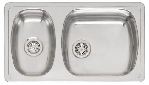 Vancouver Lux  полированнаяКухонные мойки<br>Reginox Vancouver Lux врезная мойка из нержавеющей стали с двумя чашами.<br>Поверхность полированная. <br>Подходит для шкафа шириной: 900 мм.<br>Без отверстия под смеситель.<br>Сливное отверстие &amp;#216; 3,5(OKG) , перелив в чаше.<br>Габаритные размеры: 880 x 500 мм.<br>Размеры выреза под мойку: 860 x 480 мм.<br>Размеры раковин: 480 x 420 мм / 280 x 420 мм.<br>Глубина чаши: 195 мм / 140 мм.<br>Толщина стали 1,0 мм.<br>