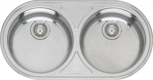 Andalucia Lux KGOKG полированнаяКухонные мойки<br>Reginox Andalucia Lux KGOKG врезная мойка из нержавеющей стали с двумя чашами.<br>Поверхность полированная.<br>Подходит для шкафа шириной 800 мм.<br>Без отверстия под смеситель.<br>Сливное отверстие: &amp;#216; 3,5(OKG), перелив в чаше, сливного отверстие второй чаши: &amp;#216; 3,5(OKG), без перелива.<br>Габаритные размеры: 855 x 445 мм.<br>Размеры выреза под мойку: 835 x 425 мм.<br>Размеры чаш: &amp;#216; 370мм/ 370 мм.<br>Глубина чаш: 140 / 140 мм.<br>Толщина стали: 0,8 мм.<br>