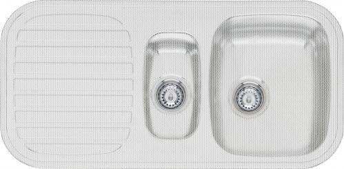 King S1.5 Linen матовое рифлениеКухонные мойки<br>Reginox King S1.5 Linen врезная мойка из нержавеющей стали, с двумя чашами.<br>Поверхность антиграфик (матовое рифление). В комплекте пластиковый коландер.<br>Подходит для шкафа шириной 600 мм.<br>Без отверстия под смеситель.<br>Сливное отверстие &amp;#216; 3,5(OKG), перелив в чаше.<br>Габаритные размеры: 980 x 480 мм.<br>Размеры выреза под мойку: 960 x 460 мм.<br>Размеры чаши: 340 x 400 мм/ 160 x 300 мм.<br>Глубина чаши: 170 / 130 мм.<br>Толщина стали: 0,9 мм.<br>