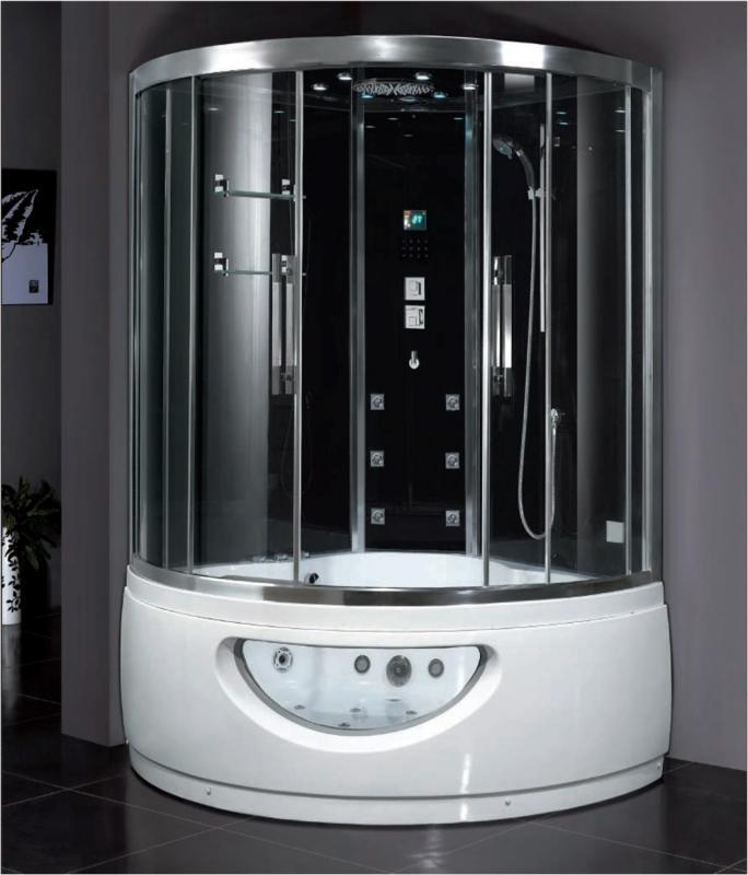 DA333 F8 Черные стенкиДушевые боксы<br>Душевой бокс Eago DA333F8, задние стекла черные. Профиль матовый хром. Комплектация: гидромассаж в ванне и кабине, подсветка в ванне, слив-перелив, верхний тропический душ, душевая лейка на стойке, турецкая баня (мощность парогенератора – 3 кВт), устройство для промывки парогенератора, электронная панель управления F3, вытяжной вентилятор, FM-приёмник, подсветка-хромотерапия. Полочка для косметики.<br>