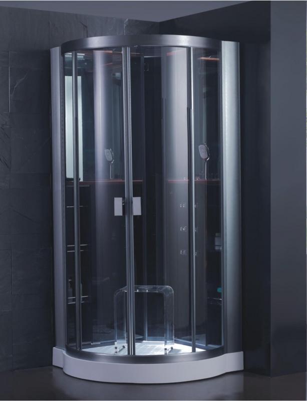 DZ986 F9 ЧернаяДушевые кабины<br>Душевая кабина EAGO DZ986 F9. Комплектация: гидромассажные форсунки 6 штук, акупунктурный массаж, душевая лейка, верхний душ, турецкая баня, радио, верхний свет, вентилятор, функция очистка парогенератора, колба для сбора волос в поддоне, блок управления под маркировкой F9.<br>