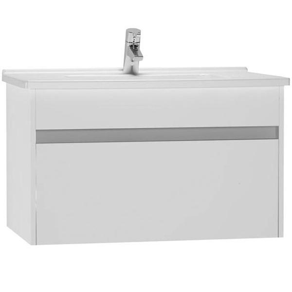 S 50 80 подвесная Белый глянецМебель для ванной<br>Подвесная тумба с раковиной Vitra S50 54738.<br>Современный и универсальный стиль тумбы дополнит интерьер любой ванной комнаты.<br>Размер: 80х46х47 см, размер раковины: 77х45 см. <br>В комплекте поставки:<br>тумба,<br>раковина 80 см 5408B003-0001 с переливом.<br>