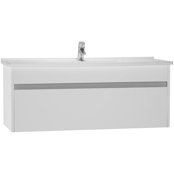 S50 120 подвесная Белый глянецМебель для ванной<br>Тумба с раковиной подвесная Vitra S50 54746.<br>Современный и универсальный стиль тумбы дополнит интерьер любой ванной комнаты.<br>Размер: 120х46х47 см, размер раковины: 117х44,5 см. <br>В комплекте поставки: <br>тумба,<br>раковина 120 см 5480B003-0001 с переливом.<br>