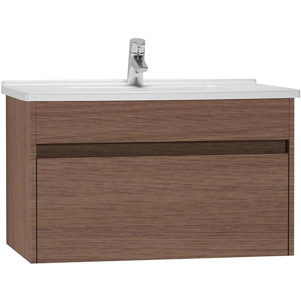S 50 80 Тёмный дубМебель для ванной<br>Тумба с раковиной подвесная Vitra S50 54740.<br>Современный и универсальный стиль тумбы дополнит интерьер любой ванной комнаты.<br>Размер: 80х46,5х47 см, размер раковины: 77х45 см. <br>В комплекте поставки:<br>тумба,<br>раковина 80 см 5408B003-0001 с переливом.<br>