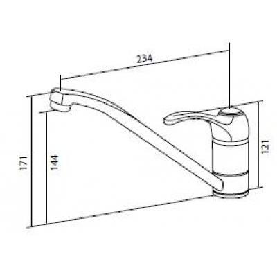 """Схема с размерами - см. закладку  """"Еще фото """".  Bourgeois - кухонный смеситель, излив 234 мм, хром."""