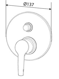 """Am.Pm  """"SENSE 7 """" Смеситель для ванны/душа, монтируемый в стену, хром F7785000."""
