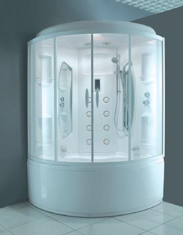 Bourgeois 130 БелаяДушевые боксы<br>Ванна с гидромассажем. Пневматическая система управления, 4 гидромассажных форсунки, излив для наполнения ванны, 2 подголовника. Кабина с системой управления EasyPad, 8 вертикальных форсунок DuoJet, верхний душ, подсветка, сенсорный пульт, паровая баня с цифровой системой управления, зеркало (2 штуки), сиденье, полочка для шампуня. Цвет профиля белый, цвет стекла прозрачный.<br>