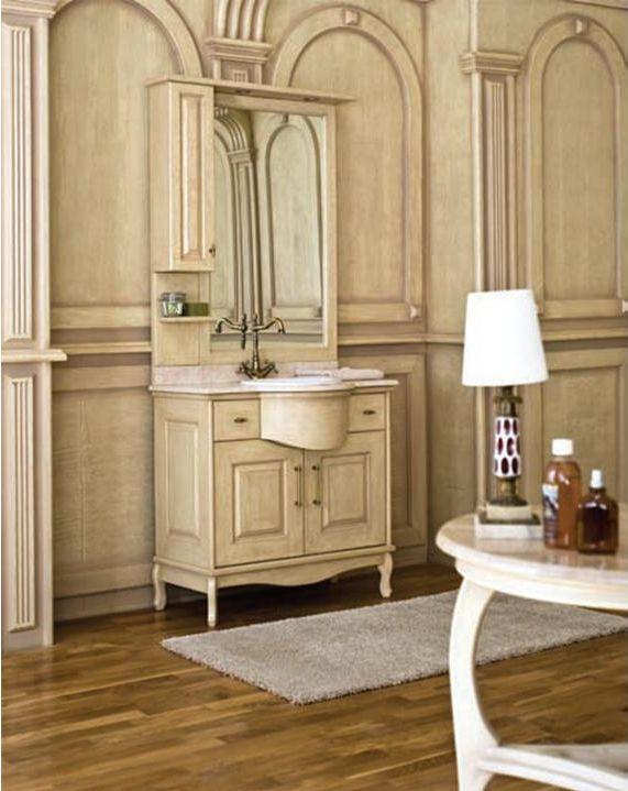 Capan G (D) напольная 100G (D)Мебель для ванной<br>Аллигатор Capan 1000G (D). Покрытие трёхслойное влагостойкое, тонированный лак. Столешница из натурального мрамора, фаянсовая раковина Roca или Gustavsberg. Петли со встроенными доводчиками. Размеры тумбы: 1000 x 560 x 850 мм. В комплект поставки входят: тумба, раковина, столешница.<br>