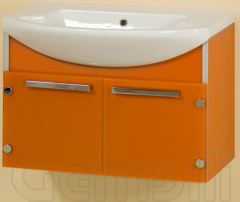 Glass One 75 подвесная Насыщенный серый металликМебель для ванной<br>В цену входит тумба подвесная Glass One 75 укомплектованная раковиной Logic. Все комплектующие (зеркала, пеналы, полупеналы, полки) приобретаются отдельно.<br>