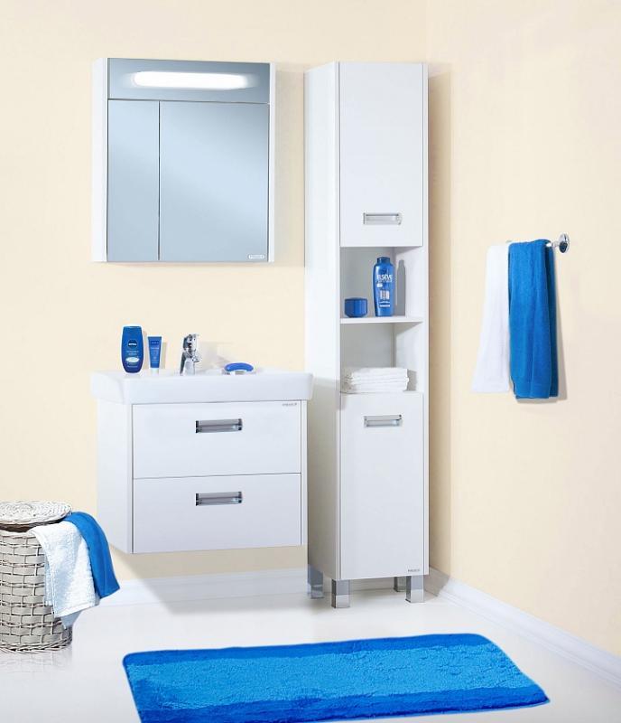 Палермо 70 подвесная БелаяМебель для ванной<br> Тумба под раковину Бриклаер Палермо 70 УТ-00006191. <br> Габариты тумбы: 69,6 x 60 x 49,5 см. <br> Дизайн: олицетворение простоты и свежести.  <br>Технические характеристики: <br> прямоугольная, подвесная,<br>материал корпуса и фасада: ЛДСП лак, высокий глянец<br>покрытие: лак/глянец,<br> 2 выдвижных ящика, <br> отверстия в задней планке для крепления к стене, <br> фурнитура: 2 металлические ручки, направляющие с доводчиками,<br>цвет: белый глянец.<br>