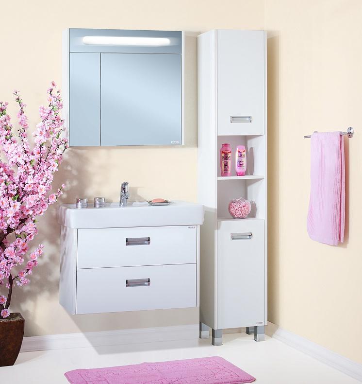 Палермо 80 подвесная БелаяМебель для ванной<br> Тумба под раковину Бриклаер Палермо 80 УТ-00006192. <br> Габариты тумбы: 79,8 x 60 x 49,5 см. <br> Дизайн: олицетворение простоты и свежести.  <br>Технические характеристики: <br> прямоугольная, подвесная,<br>материал корпуса и фасада: ЛДСП лак, глянец<br>покрытие: лак/глянец,<br> 2 выдвижных ящика, <br> отверстия в задней планке для крепления к стене, <br> фурнитура: 2 металлические ручки, направляющие с доводчиками,<br>цвет: белый глянец.<br>