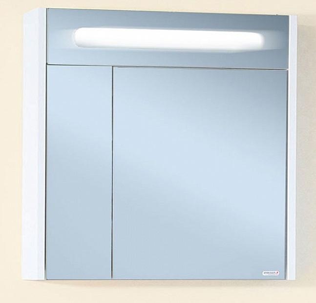 Палермо 74 с подсветкой корпус Белый глянецМебель для ванной<br> Зеркало Бриклаер Палермо74 УТ-00005915. <br> Габариты зеркала: 74 x 70 x 16 см. <br> Дизайн: олицетворение простоты и свежести.  <br>Технические характеристики:<br> форма: прямоугольное,<br>материал корпуса и фасада: ЛДСП лак, глянец<br>покрытие: лак/глянец,<br>цвет: фасад - белый глянец, корпус - белый глянец.<br>зеркало: серебро с амальгамой, <br> фурнитура: петли с доводчиками, навески для крепления к стене,<br> внутри: полочки для хранения, установлен люминисцентный светильник 6 Вт, <br> 2 распашные дверцы (одна узкая, другая широкая). <br>