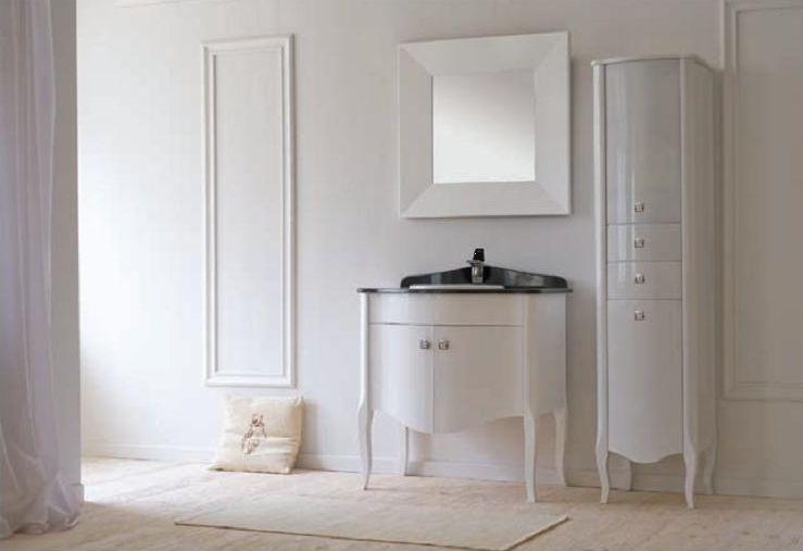 Royal Комфорт A(М) Белая напольная 90A (M)Мебель для ванной<br>Аллигатор Royal Комфорт 90A (М). Покрытие трёхслойное влагостойкое, тонированный лак. Столешница из черного гранита, мрамора крема нова или имперадор лайт, фаянсовая раковина Roca или Gustavsberg. Петли с доводчиками. Размер тумбы: 900х555х850 мм. В комплект поставки входят: тумба, раковина, столешница.<br>