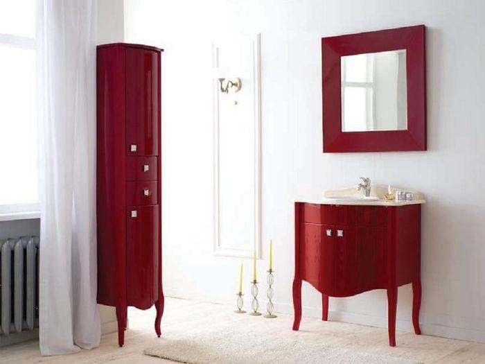Royal Комфорт A(М) Бордо напольная 70A (M)Мебель для ванной<br>Аллигатор Royal Комфорт 70A (М). Цвет бордо, покрытие трёхслойное влагостойкое, тонированный лак. Столешница из черного гранита, мрамора крема нова или имперадор лайт, фаянсовая раковина Roca или Gustavsberg. Петли с доводчиками. Размер тумбы: 700х555х850 мм. В комплект поставки входят: тумба, раковина, столешница.<br>