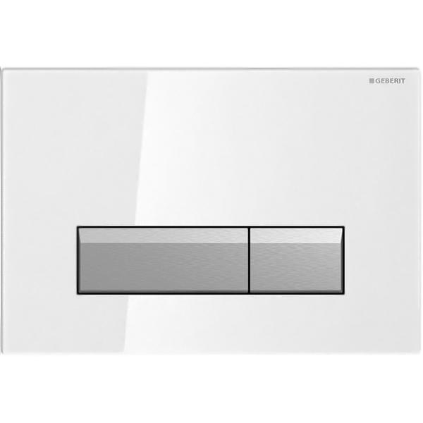 Sigma 40 115.600.SI.1 Белый/алюминийИнсталляции<br>Клавиша смыва Geberit Sigma 40 115.600.SI.1 для работы с инсталляцией или с бачком скрытого монтажа для унитаза.<br><br>Цвет корпуса: белый.<br>Цвет кнопок: алюминий.<br>Материал корпуса: стекло.<br>Материал кнопок: алюминий.<br>Установка: фронтальная.<br>Управление: механическое.<br>Для систем двойного смыва.<br>Для монтажа в стены с толщиной облицовки максимум 6 см.<br>Размеры: 26,6 x 18,2 x 2,2 см.<br><br>Функция очисткивоздуха:<br><br>Длянепосредственнойочисткивоздуха.<br>Нейтрализация запаха посредством фильтра с активированным углём.<br>Индикатор-светодиод замены фильтра.<br>Напряжение: 230 V.<br>Частота тока: 50 Hz.<br>Рабочее напряжение: 12 V.<br>Мощность: 3 Вт.<br>Скорость забора воздуха: 8,5 м3/ч.<br><br>В комплекте поставки:<br><br>Кнопка смыва.<br>Монтажная рамка с поворотным механизмом.<br>Два держателя крепления рамки.<br>Толкатели привода смыва.<br>Блок вентиляции и управления.<br>Блок питания с индикатором-светодиодом.<br>Кабельное соединение со штепселем.<br>Фильтр с активированным углём, тип 1.<br>Защитная крышка.<br>Контейнер для дезодорирующих кубиков.<br>Защитный элемент: антиконденсат трубки подвода.<br><br>