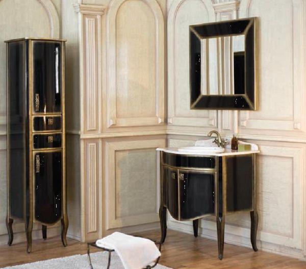 Royal Комфорт A(M) Черная напольная 90A (M)Мебель для ванной<br>Аллигатор Royal Комфорт 90A (М). Цвет черный с золотом, покрытие трёхслойное влагостойкое, тонированный лак. Столешница из черного гранита, мрамора крема нова или имперадор лайт, фаянсовая раковина Roca или Gustavsberg. Петли с доводчиками. Размер тумбы: 900х555х850 мм. В комплект поставки входят: тумба, раковина, столешница.<br>