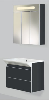 ULTRA 75 подвесная ЧернаяМебель для ванной<br>Тумба комплектуется раковиной FUSION S<br>