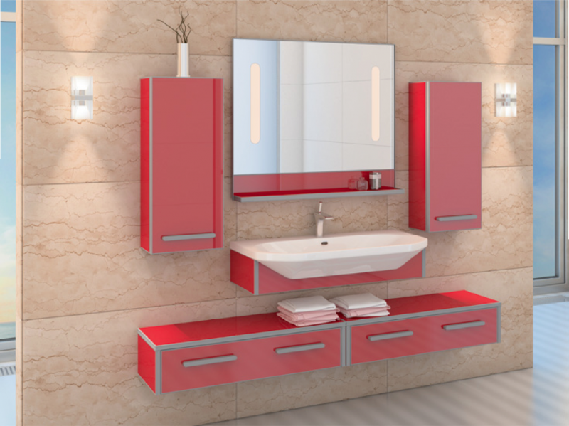 LIFE-CONSOLE 80 подвесная КраснаяМебель для ванной<br>Тумба комплектуется раковиной FUSION  (SWISS Design)<br>