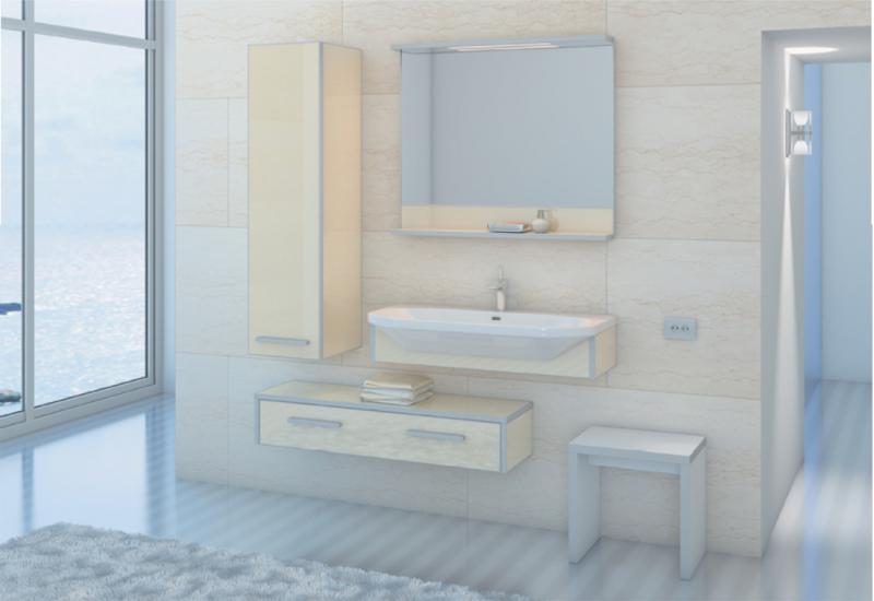 LIFE-CONSOLE 110 подвесная БежеваяМебель для ванной<br>Тумба комплектуется раковиной FUSION  (SWISS Design)<br>
