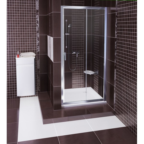BLDP2-110 cатин+transparent RДушевые ограждения<br>Душевая дверь в нишу Ravak BLDP2 110 двухсекционная, раздвижная. Регулирующий профиль BLNPS позволяет расширять изделие на 20 мм. Витраж из безопасного стекла толщиной 6 мм.<br>