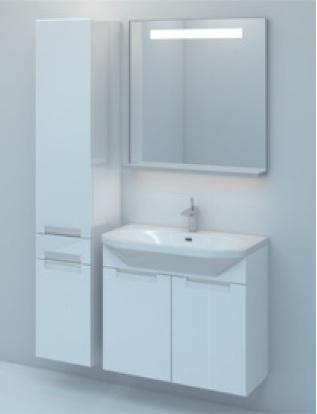 Тумба TIME 80 подвесная c корзиной Белый глянецМебель для ванной<br>Тумба комплектуется раковиной FUSION  (SWISS Design)<br>