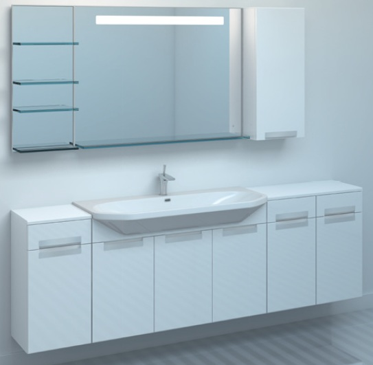 Тумба TIME 95 подвесная с ящиком Белый глянецМебель для ванной<br>Тумба комплектуется раковиной FUSION  (SWISS Design), а так же к тумбе поставляется дополнительно ящик, который вешается на один из двух краев тумбы<br>