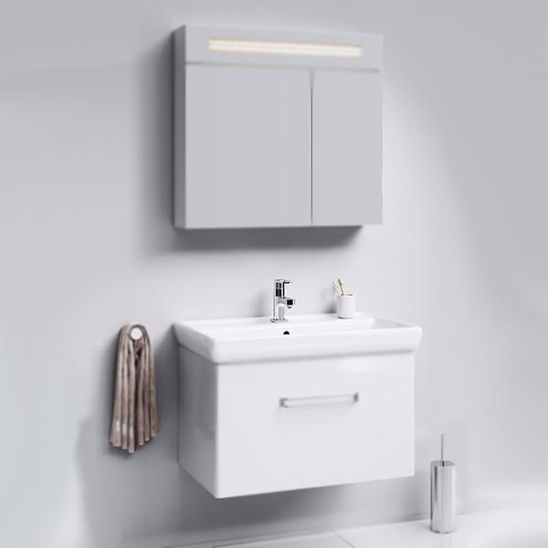 Нео 80 подвесная БелаяМебель для ванной<br>Подвесная тумба под раковину Aqwella Нео 80 Neo.01.08/1 белая, с глянцевой поверхностью, с выдвижным ящиком с хромированной ручкой. Для использования в ванных комнатах с повышенной влажностью.<br>Гармония, удобство и функциональность.<br>Материал: МДФ европейского производства.<br>Покрытие: четыре слоя белой глянцевой эмали.<br>Экологически чистые материалы.<br>Сертификат качества: ISO 9001:2000.<br>Фурнитура Blum: надежность и долговечность.<br>Монтаж: подвесной, крепление к стене. <br>Отделение:<br>выдвижной ящик, один отсек.<br>Система мягкого закрывания (Blum).<br>В комплекте поставки:<br>тумба.<br>